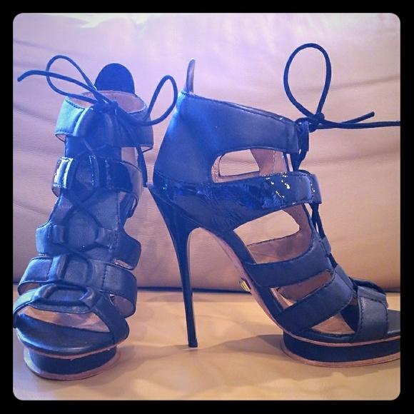 6f944603773b3 L.A.M.B. Cage Lace Up Tie Platform Stiletto Heels NWT